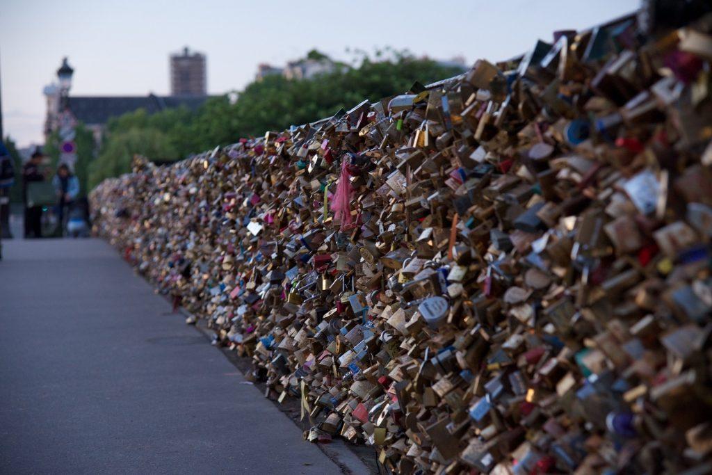 挂锁, 桥梁, 爱, 游客, 数量, 巴黎, 1709191418