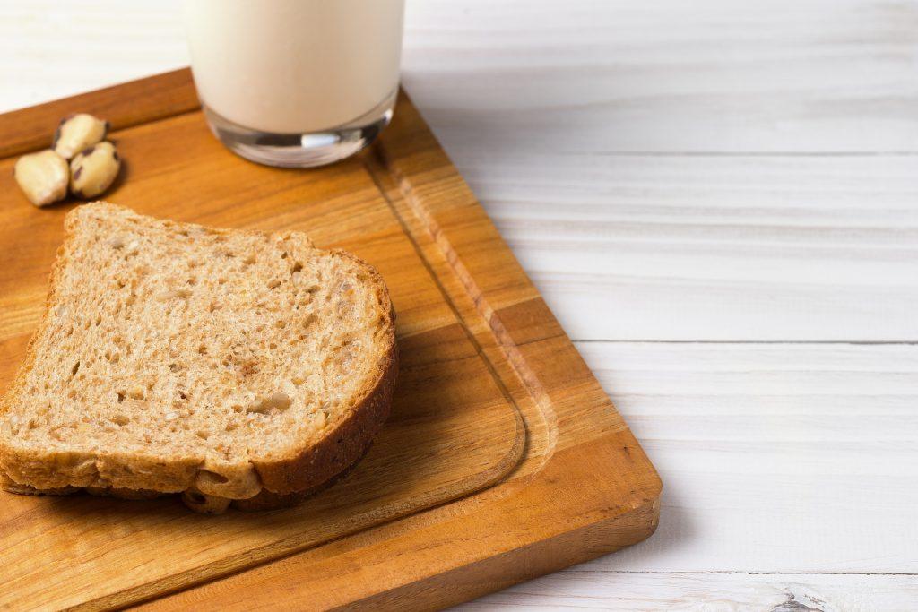 面包, 牛奶, 干果, 玻璃, bandeja, 早餐, 1709171135
