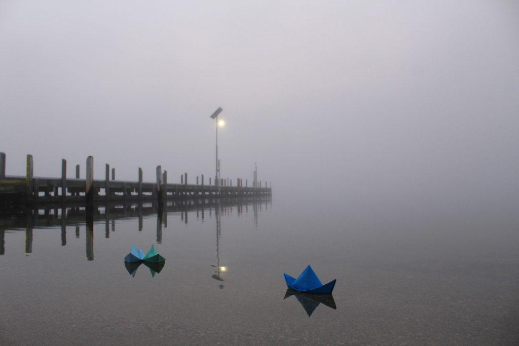puerto, muelle, niebla, farola, barcos, papel, 1709210808