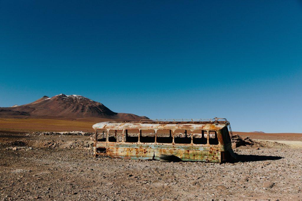 autobus, abandonado, viejo, roto, desierto, óxidado, 1710200806