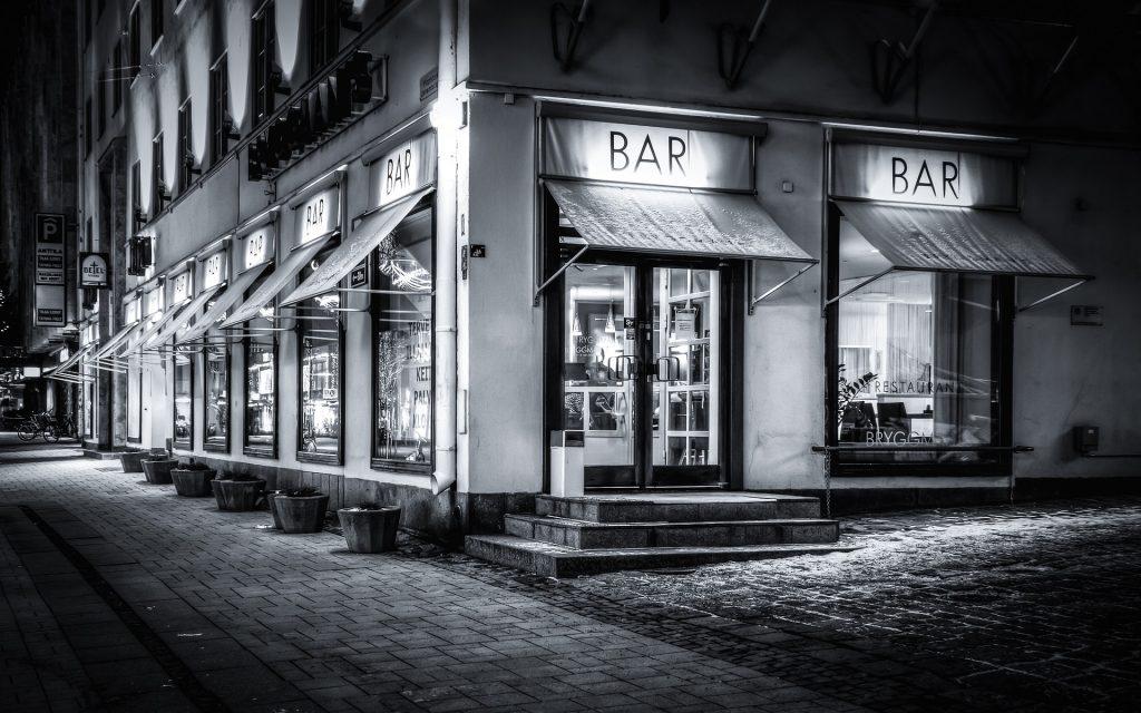 bar, restaurante, café, ciudad, en blanco y negro, 1710211112