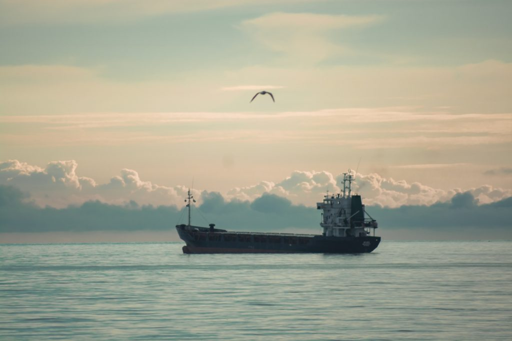barco, buque, carguero, mar, océano, nubes, pájaro, 1710081531