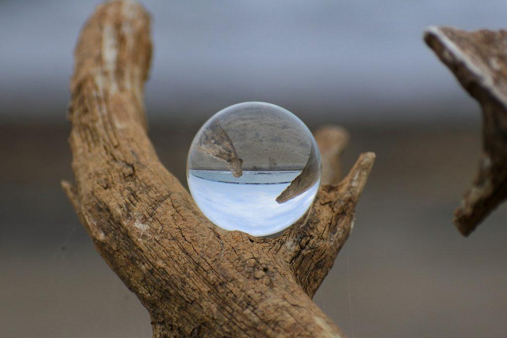 bola, cristal, esfera, tronco, rama, playa, 1710022146