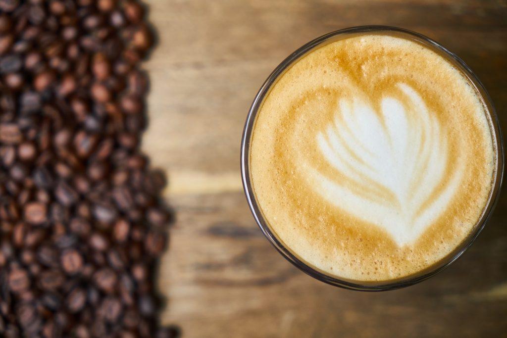 café, nata, espuma, dibujo, granos, vaso, 1710181944