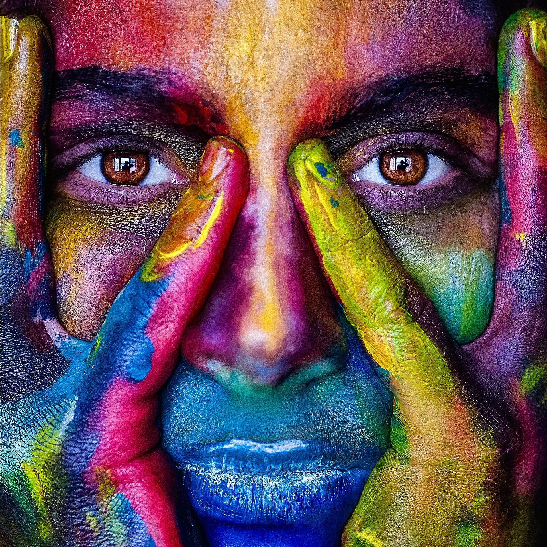 الوجه, امرأة, اللوحة, ملون, عيون, أيدي - خلفيات عالية الدقة - أستاذ falken.com