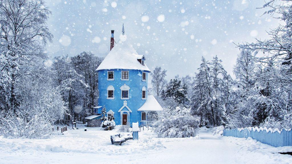 casa, azul, bosque, árboles, nieve, invierno, 1710211930