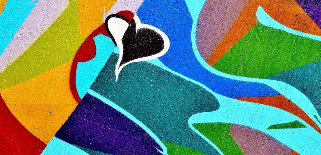 grafiti, pintada, arte, formas, figuras, corazón, colorido, 1710221129