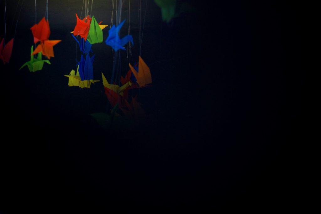 pajaritas, papel, origami, colorido, colgantes, hilos, 1710101206