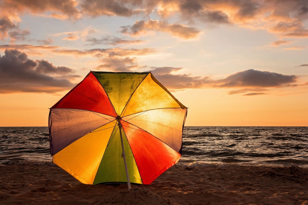 playa, parasol, sombrilla, colorido, arena, mar, atardecer, 1710100851