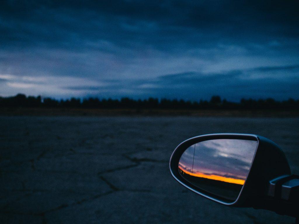 retrovisor, espejo, coche, atardecer, nublado, lejanía, 1710211712