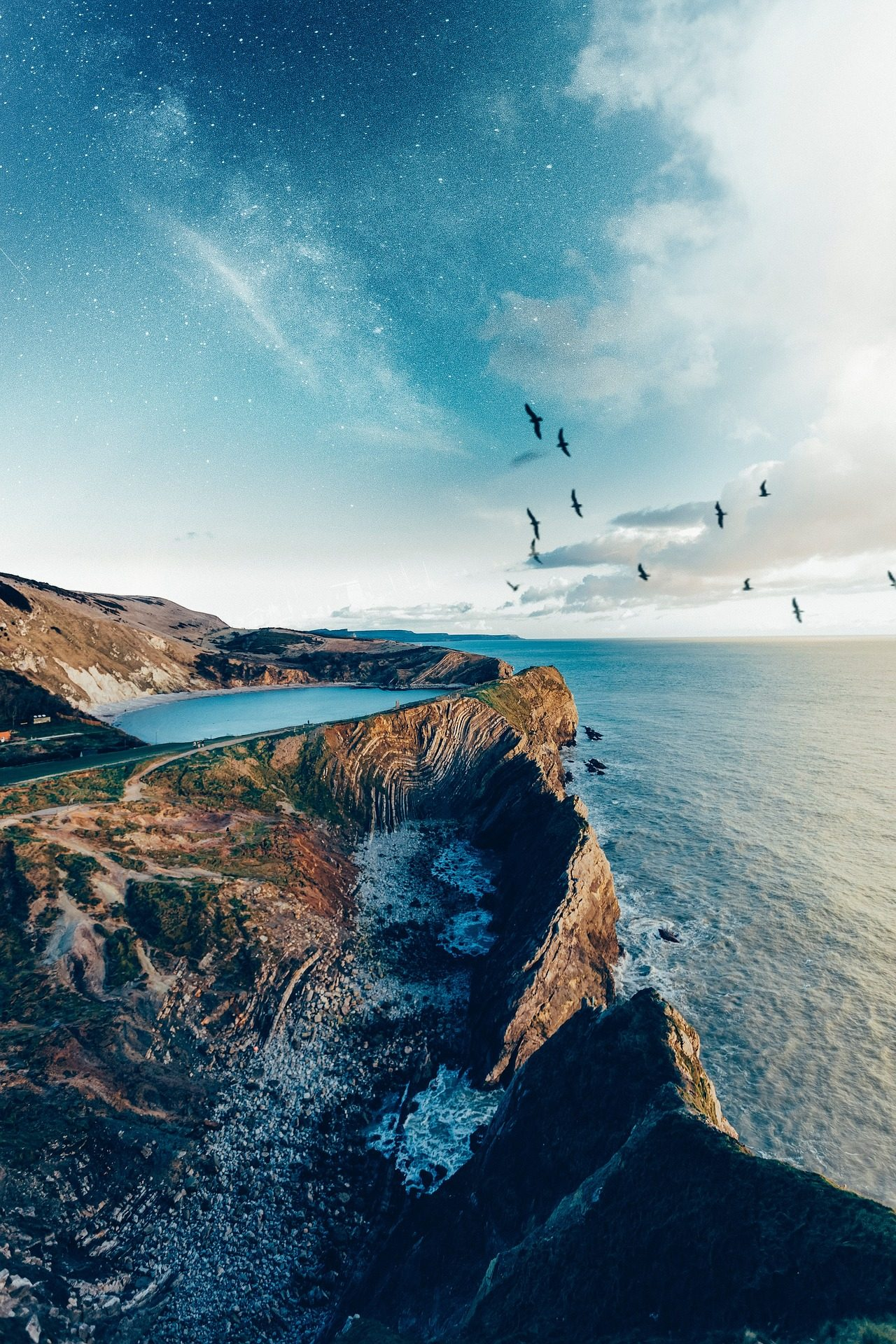 acantilado, camino, mar, océano, laguna, pájaros, cielo, nubes - Fondos de Pantalla HD - professor-falken.com