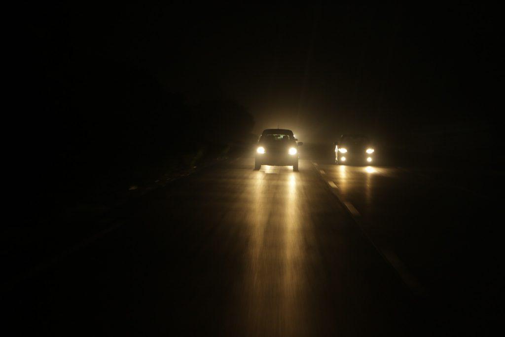 Carros, à noite, luzes, Calzada, asfalto, escuridão, 1711201246