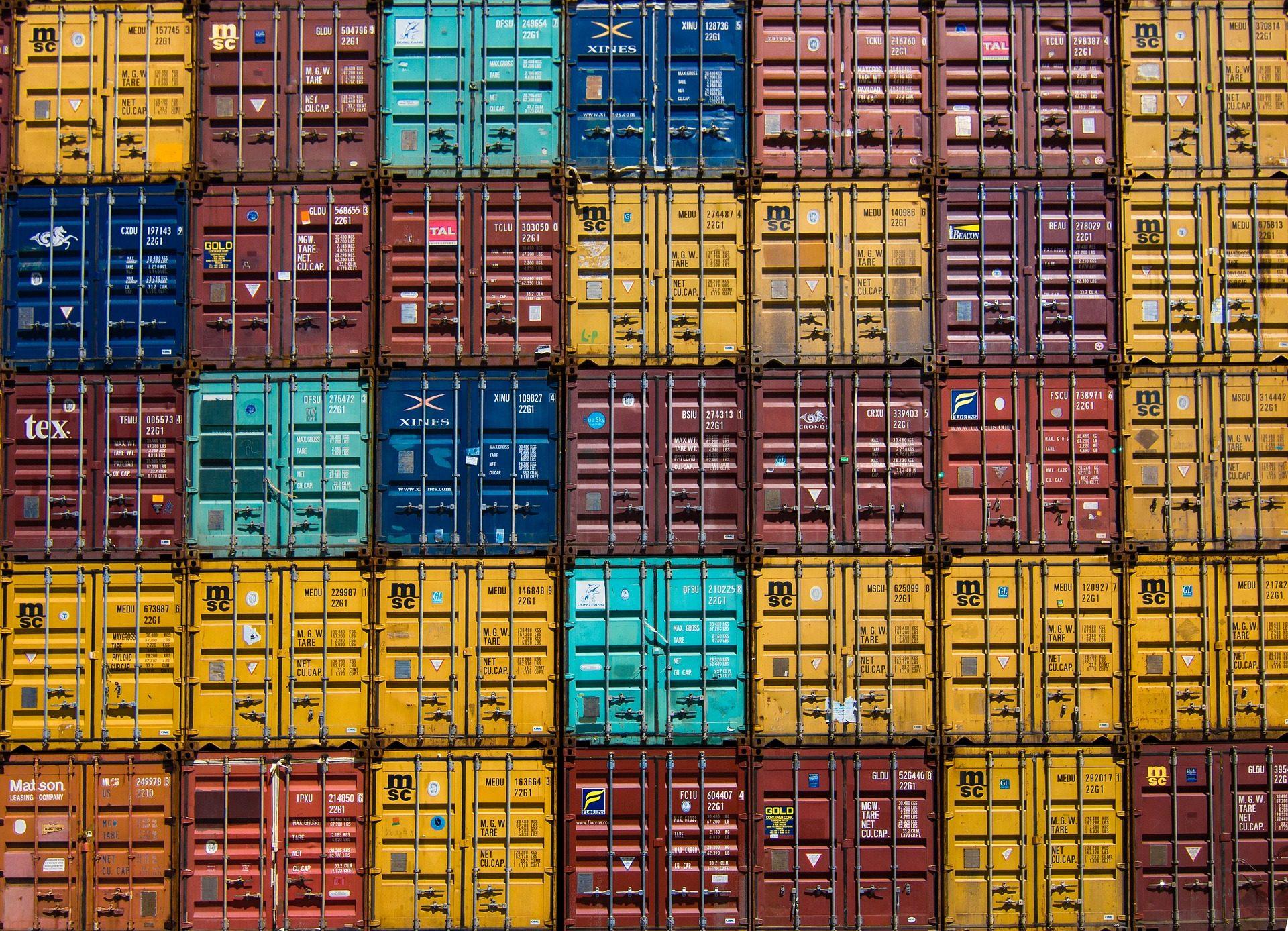 コンテナー, 貨物船, ロード, 対称性, colocación, カラフルです - HD の壁紙 - 教授-falken.com