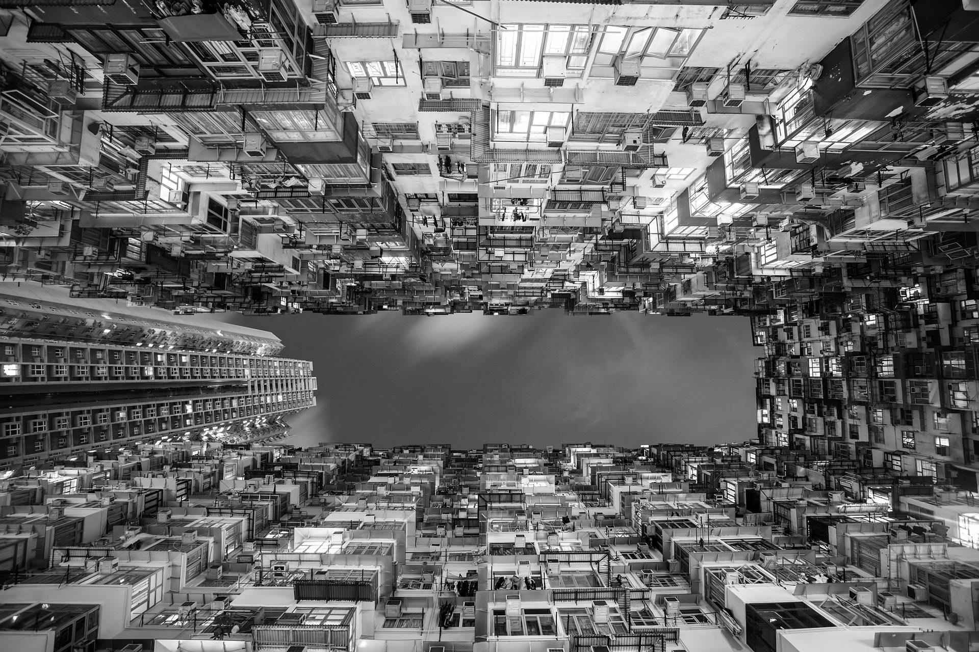 здания, улей, Агломерация, Апартаменты, Гонконг, в черно-белом - Обои HD - Профессор falken.com