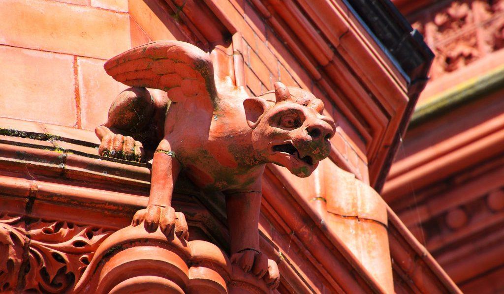 gárgola, piedra, escultura, edificio, alas, 1711170858