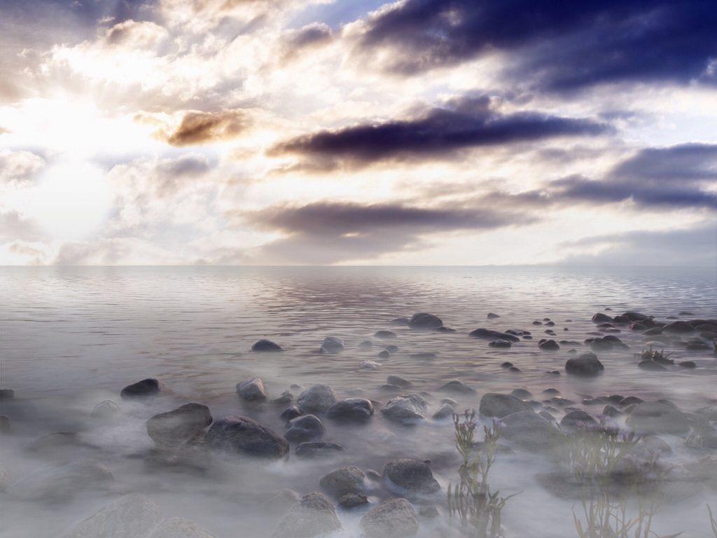 mar, piedras, nubes, niebla, sol, rayos, 1711171516