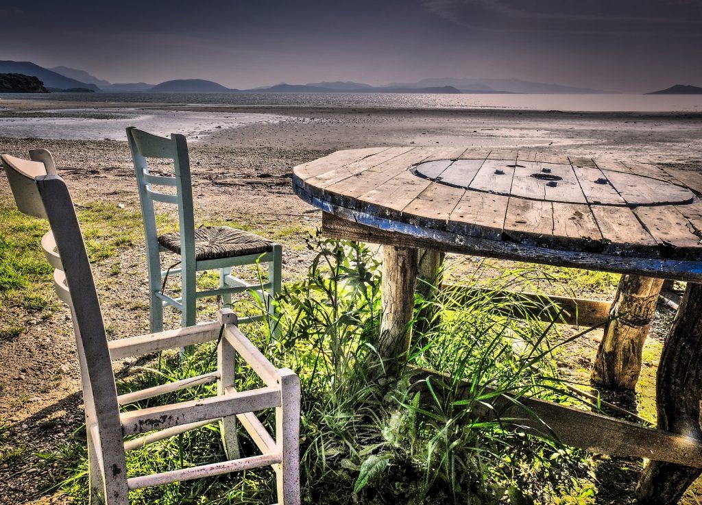 表, 椅子, 木材, 破碎, 被遗弃, 沼泽, 1711191207