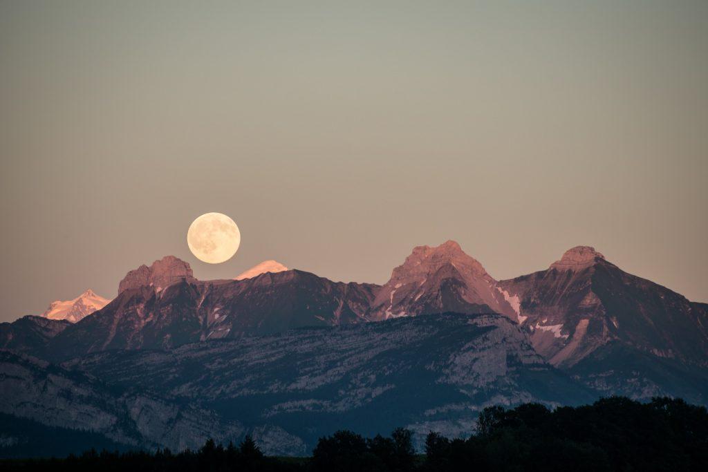 山脉, 雪, 月亮, 地平线, 天空, 1711190855