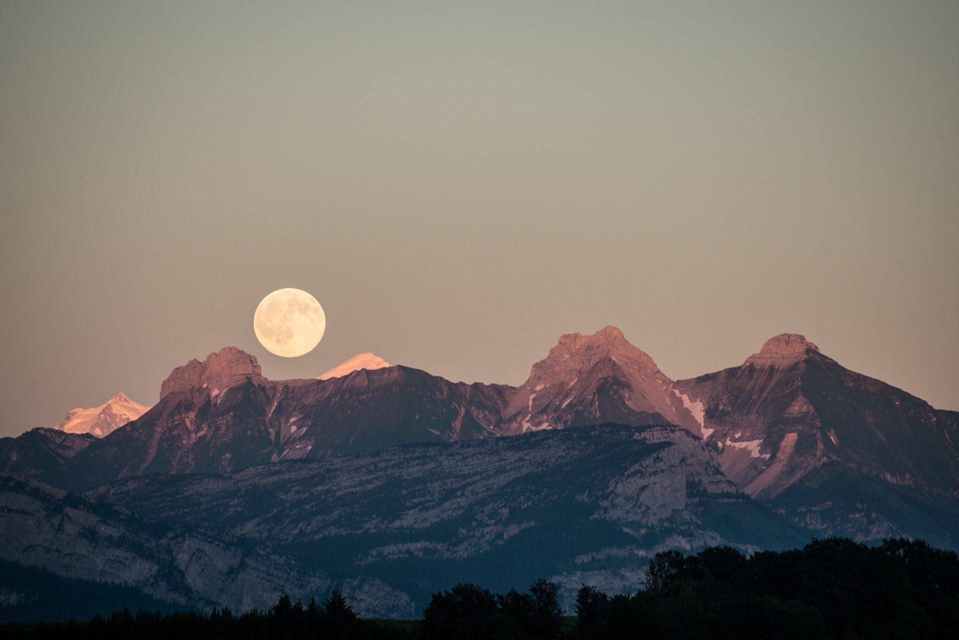 الجبال, الثلج, القمر, الأفق, السماء - خلفيات عالية الدقة - أستاذ falken.com