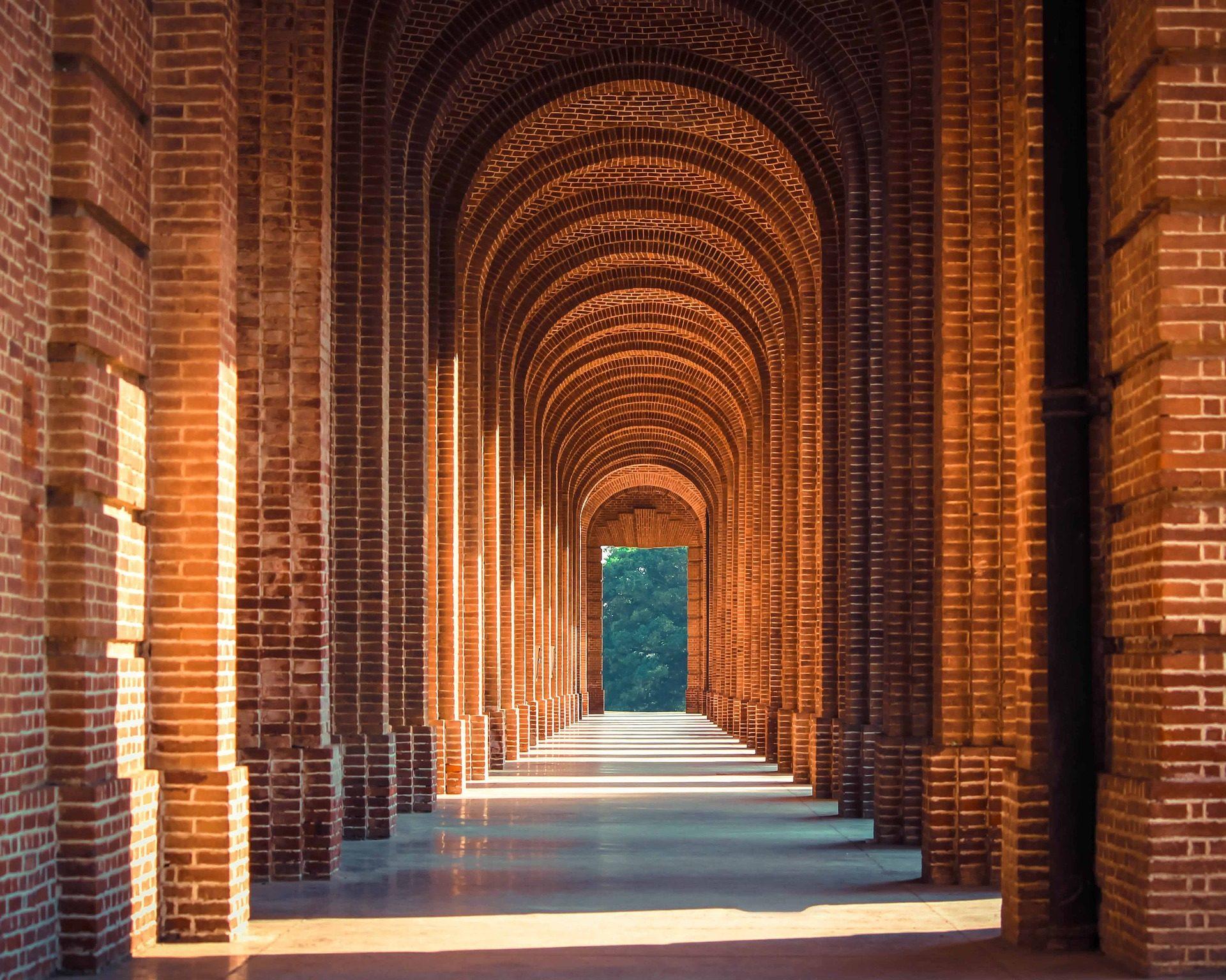 passagem, Hall, Arcos, colunas, tijolos - Papéis de parede HD - Professor-falken.com