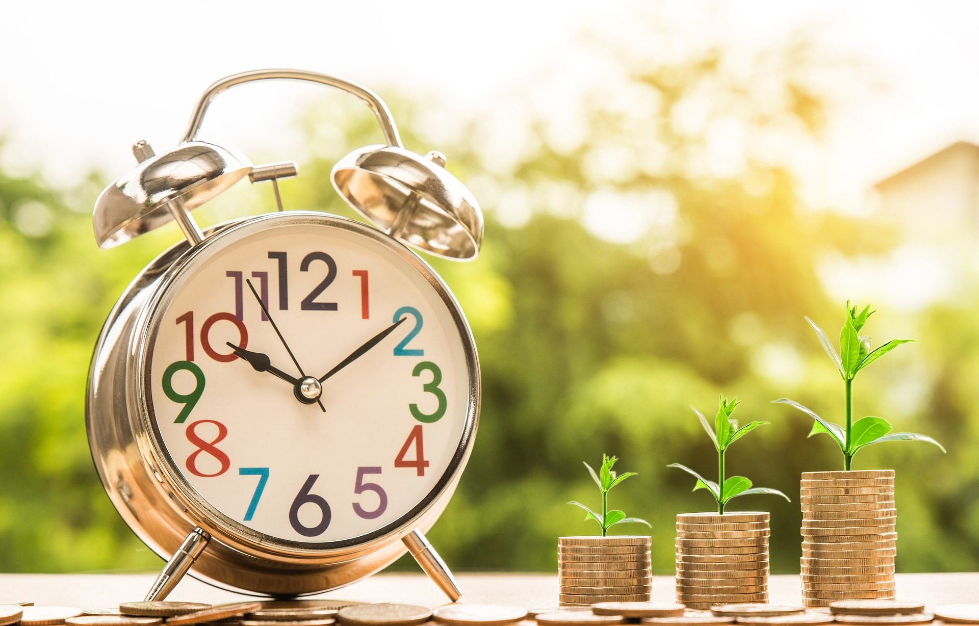 reloj, despertador, hora, tiempo, monedas, plantas, brotes - Fondos de Pantalla HD - professor-falken.com