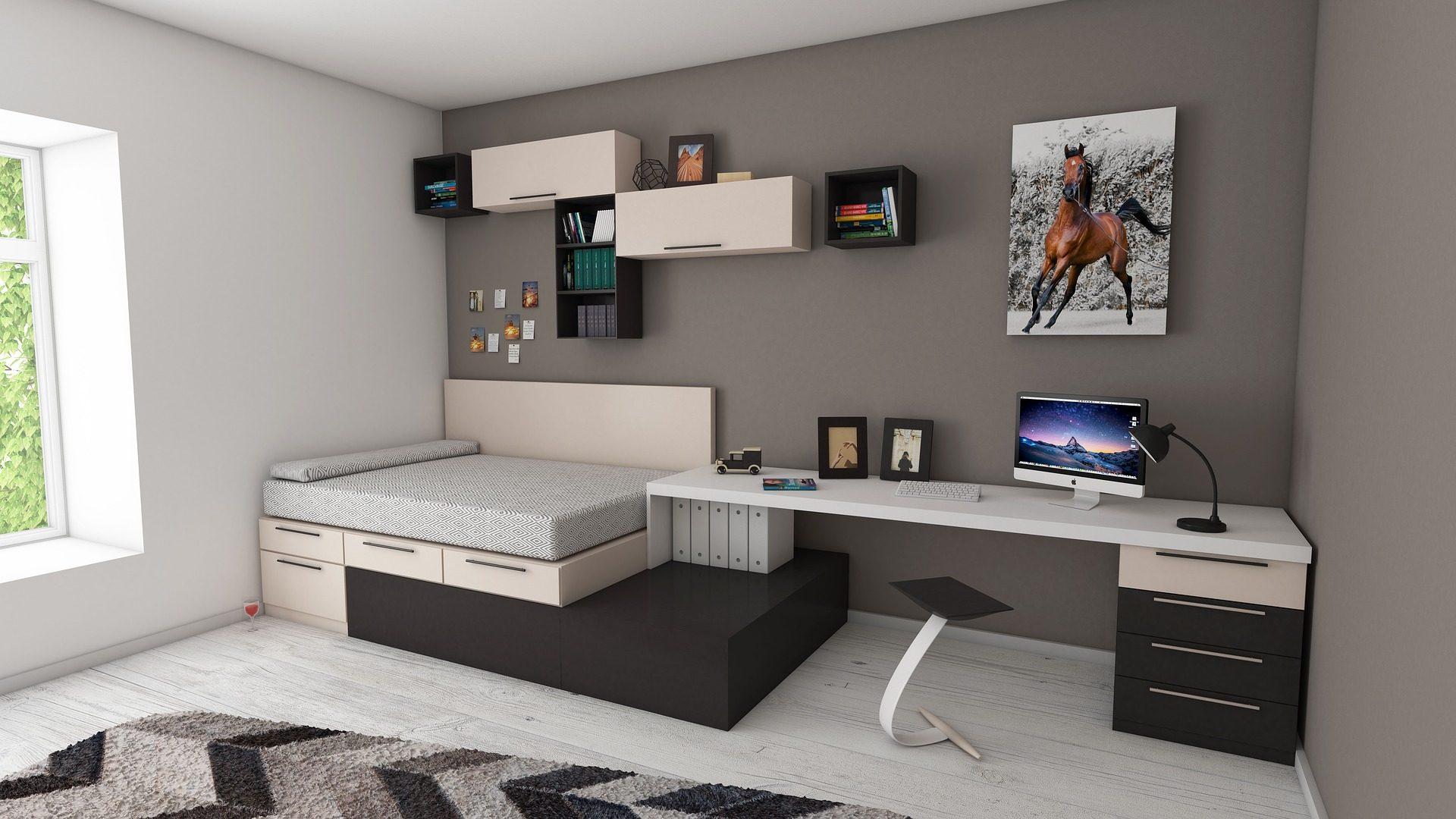 Appartamento, camera, camera da letto, Desktop, letto, computer - Sfondi HD - Professor-falken.com