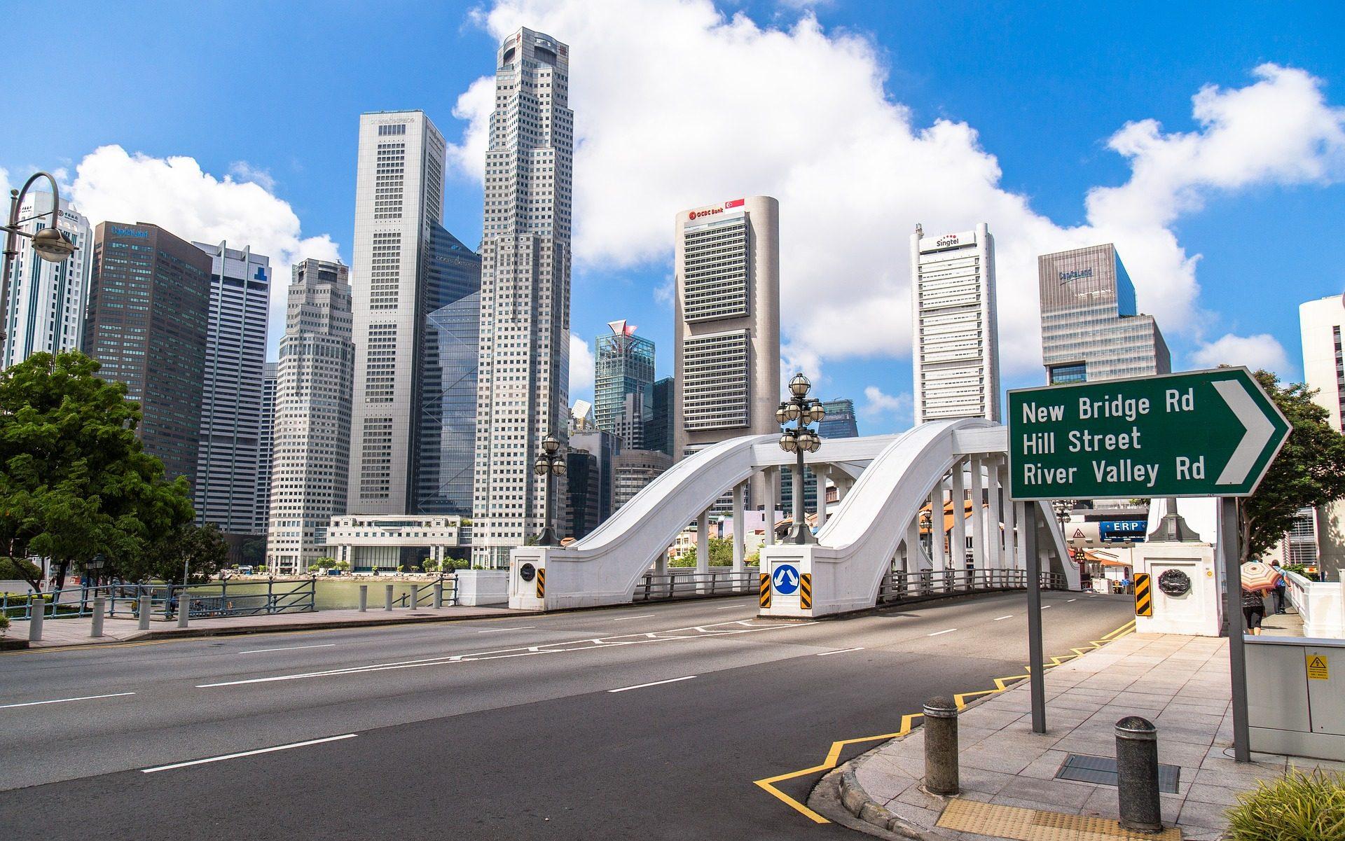 Cidade, edifícios, arranha-céu, ponte, linha do horizonte, Cingapura - Papéis de parede HD - Professor-falken.com
