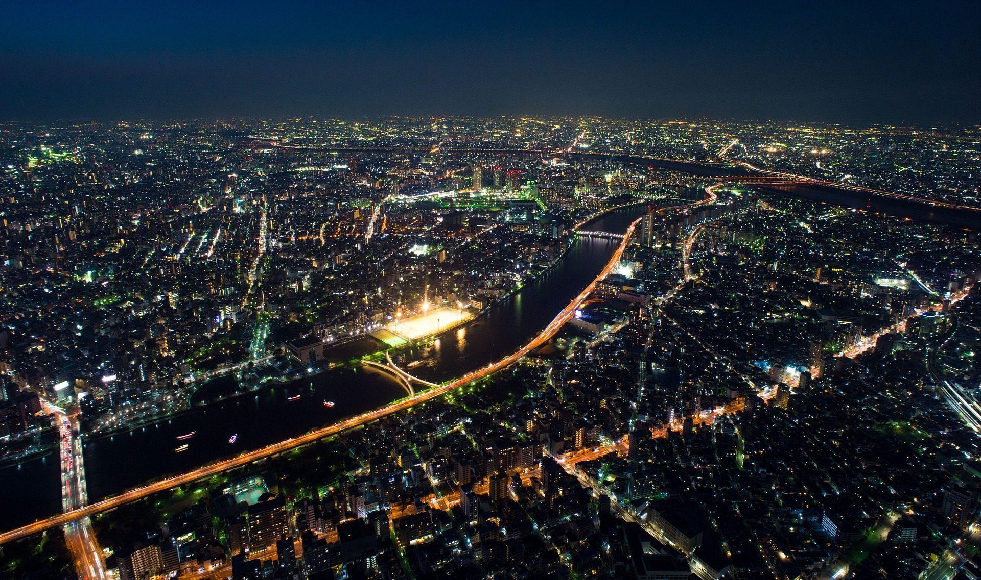 مدينة, ليلة, مرتفعات, أضواء, المباني, superpoblación - خلفيات عالية الدقة - أستاذ falken.com