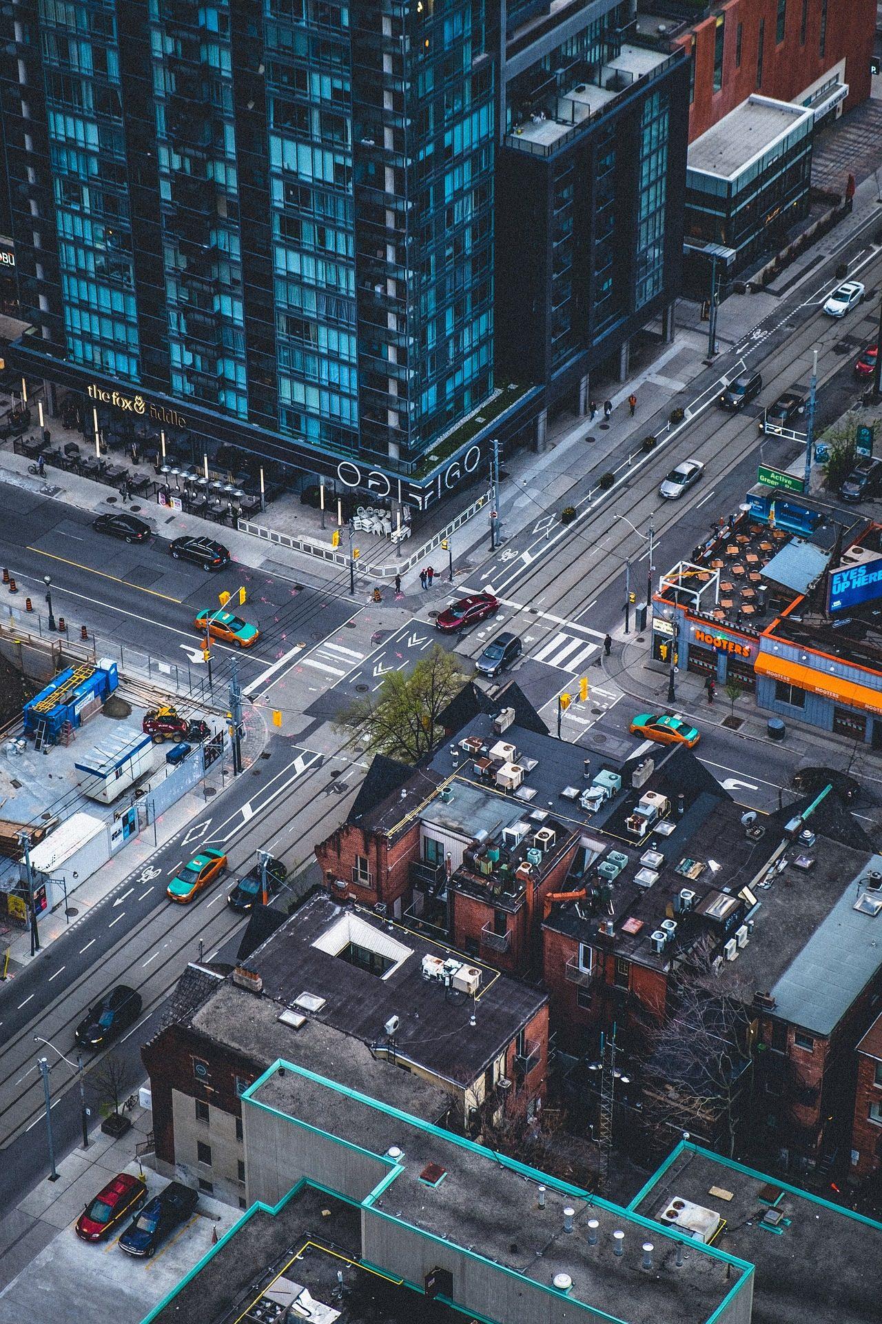 Cidade, arranha-céu, Carros, ruas, trânsito, travessia - Papéis de parede HD - Professor-falken.com