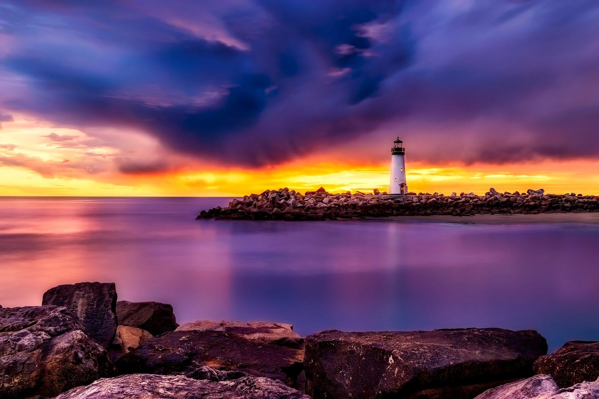 प्रकाशस्तंभ, Rocas, पत्थर, कोस्टा, सागर, बादल, सूर्यास्त, सांता क्रूज़, कैलिफोर्निया - HD वॉलपेपर - प्रोफेसर-falken.com