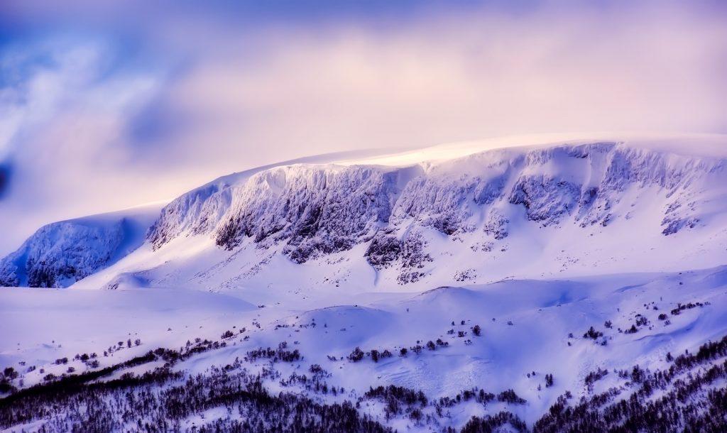 montaña, nieve, árboles, nevada, nubes, cielo, 1712151636