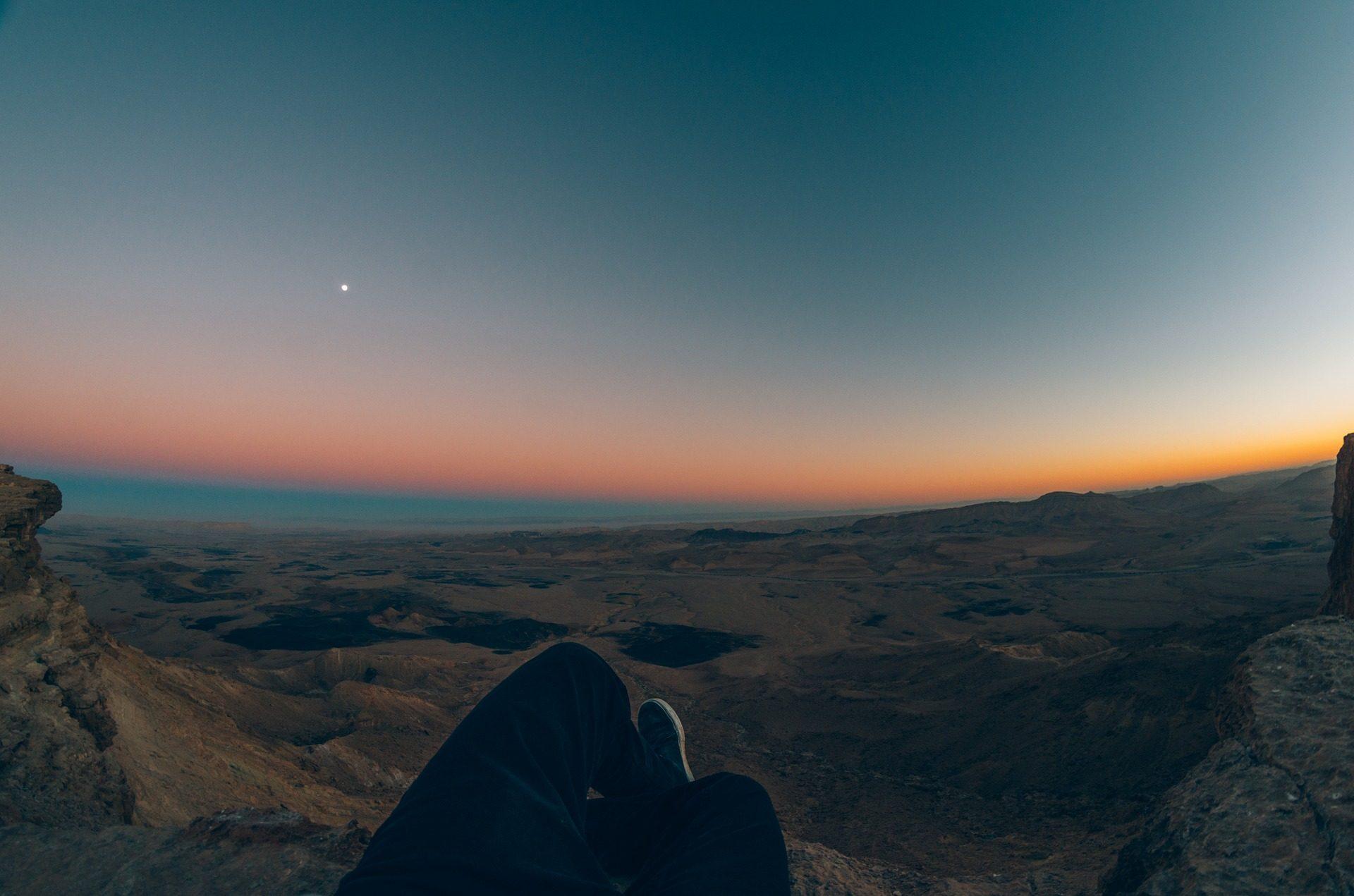 montañas, horizonte, alturas, Céu, Pôr do sol, Lua - Papéis de parede HD - Professor-falken.com