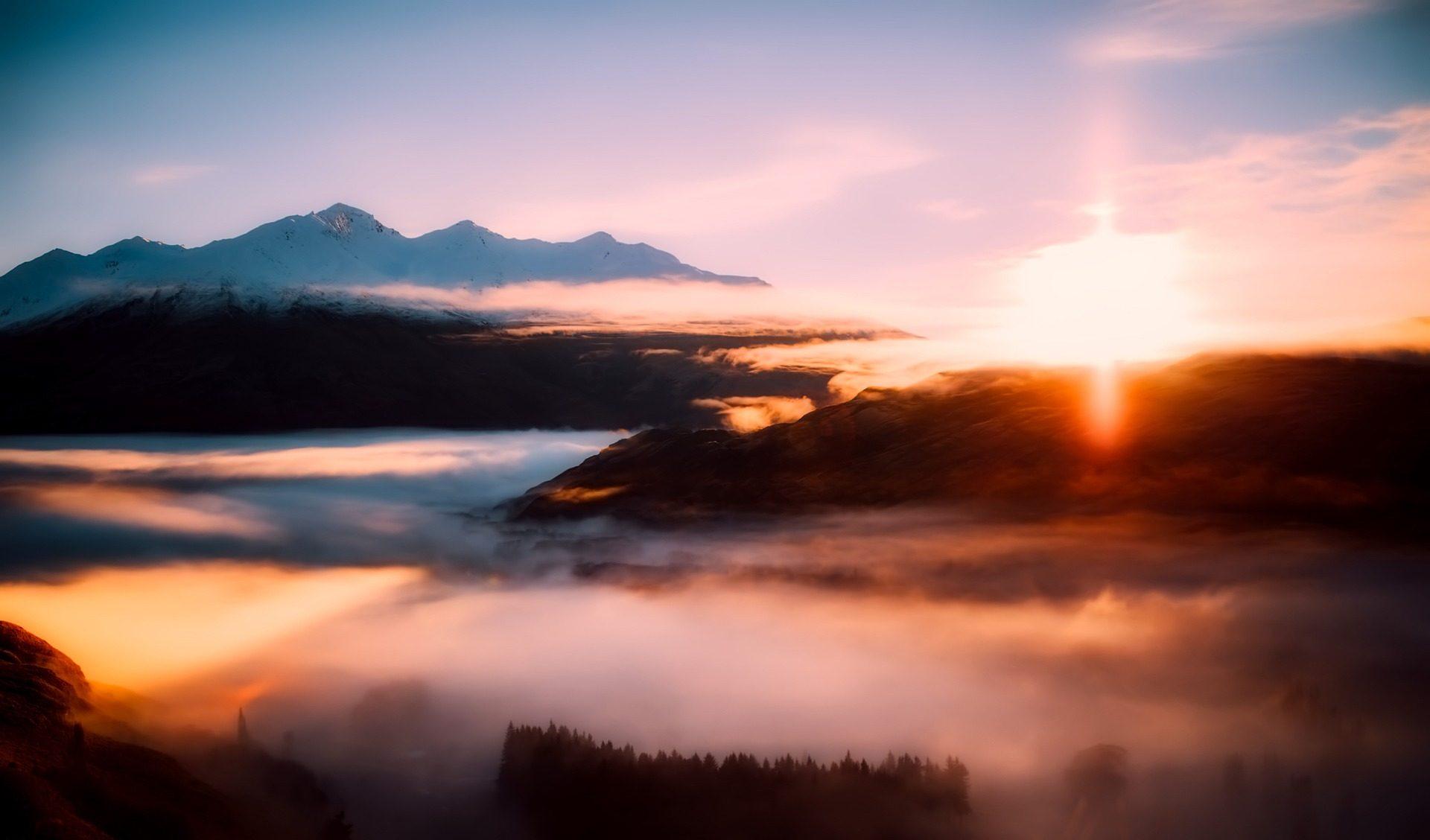 Montañas, nuages, hauteurs, Sun, rayons, neige, Nouvelle-Zélande - Fonds d'écran HD - Professor-falken.com