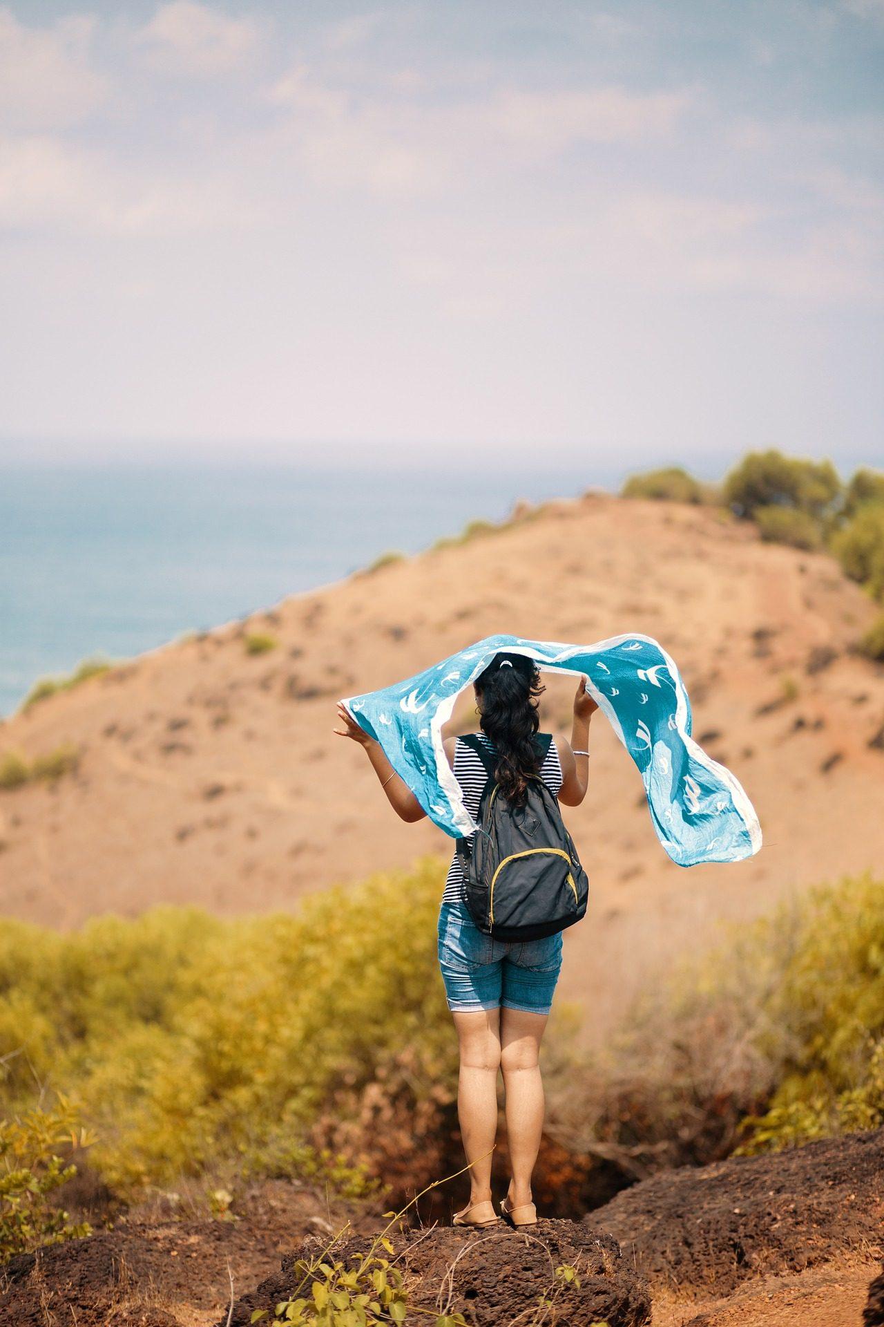 امرأة, حقيبة, الهواء, وشاح, البحر - خلفيات عالية الدقة - أستاذ falken.com