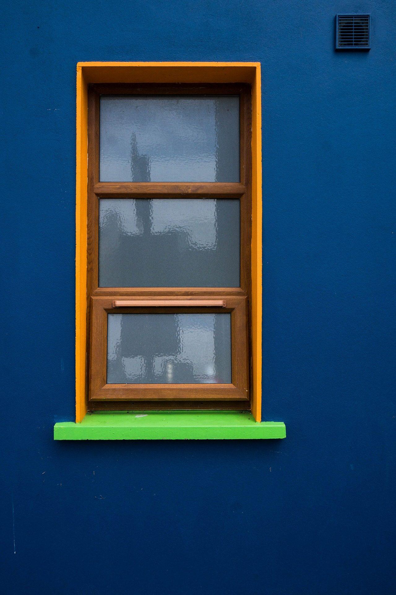 نافذة, الجدار, الإطار, كريستال, انعكاس, الأزرق - خلفيات عالية الدقة - أستاذ falken.com
