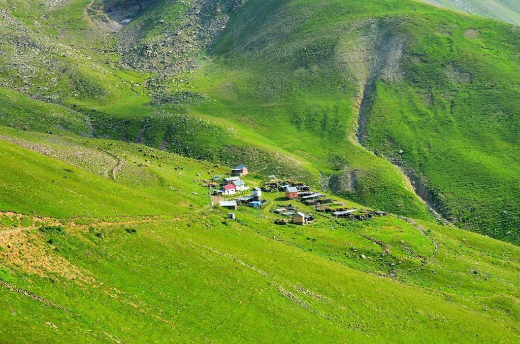 aldea, montaña, ladera, valle, casas, 1801141252