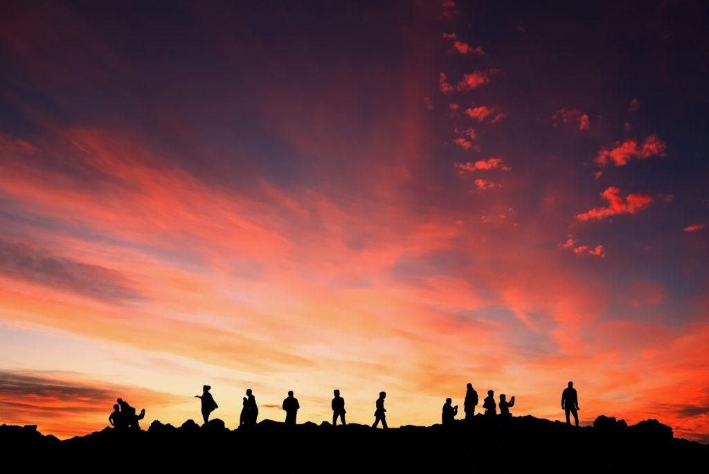 atardecer, personas, siluetas, sombras, nubes, montaña, 1801171513