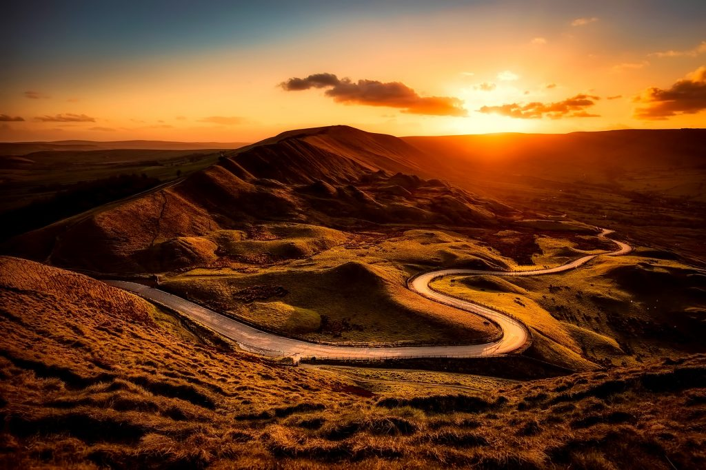 carretera, curvas, camino, colinas, atardecer, sol, 1801151820