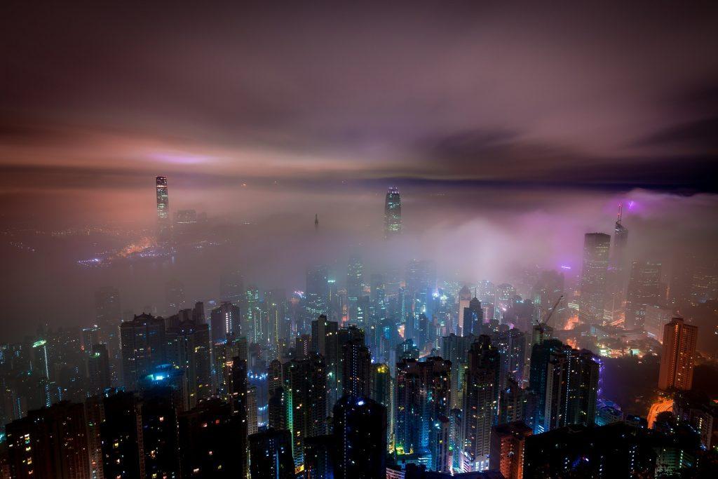 ciudad, metrópolis, edificios, rascacielos, luces, noche, niebla, 1801211406