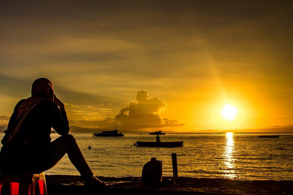 海, 日落, 海洋, 小船, 太阳, 宁静, 放松, 1801082039