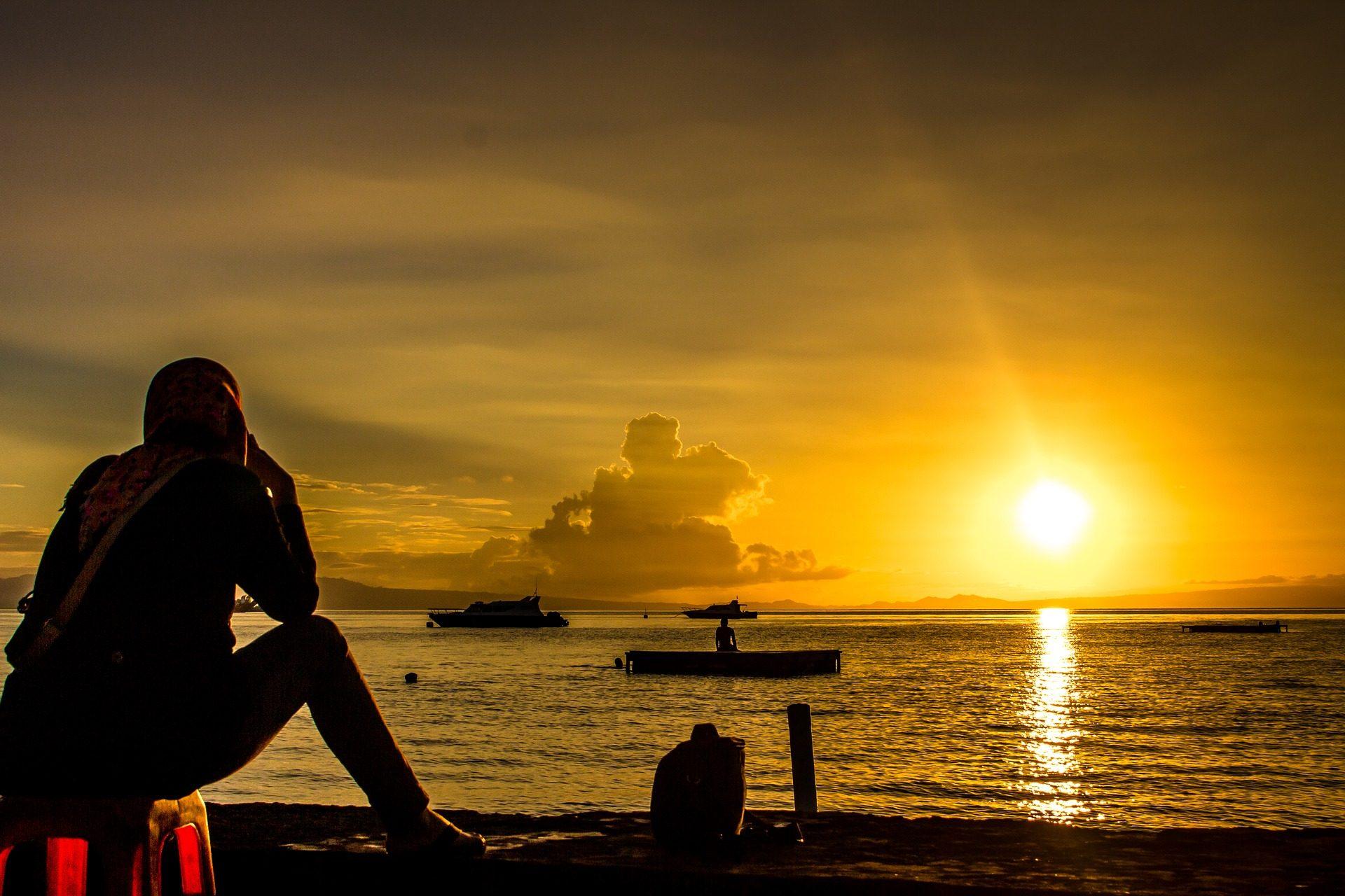 Fond d cran de mer coucher de soleil oc an bateaux - Fond ecran coucher de soleil sur la mer ...