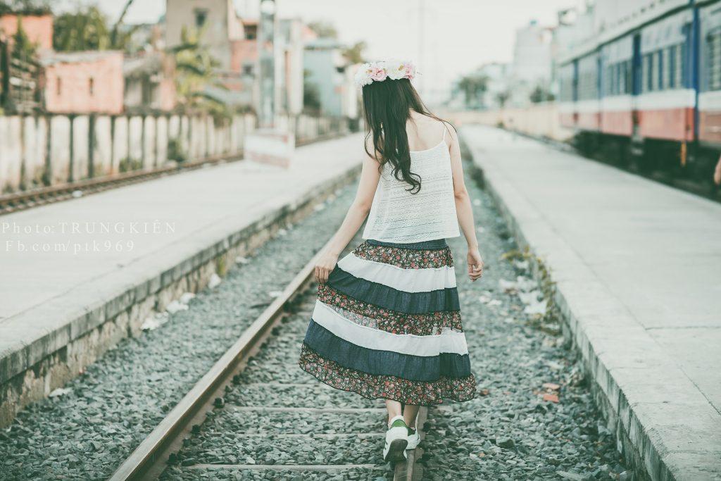 女人, 穿衣服, 皇冠, 花, 通过, 火车, 1801191129