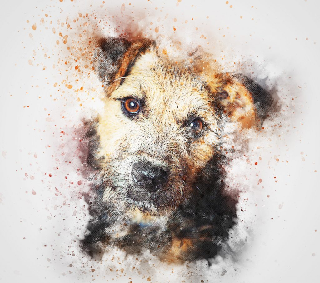 perro, mascota, pintura, arte, vintage, 1801211700