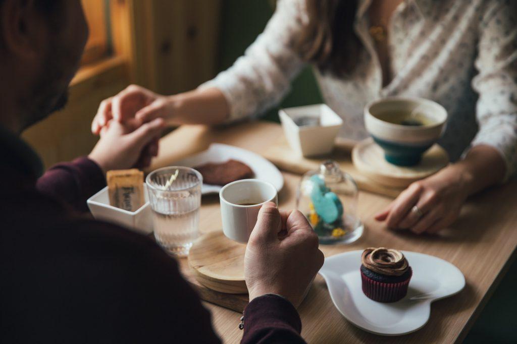 人, 夫妇, 早餐, 咖啡, 甜, 手, 1801051757