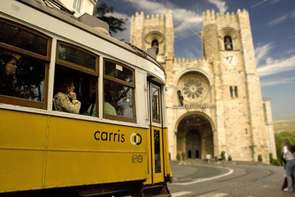 tranvía, 城市, 旅游, 大教堂, 教会, 里斯本, 1801141807