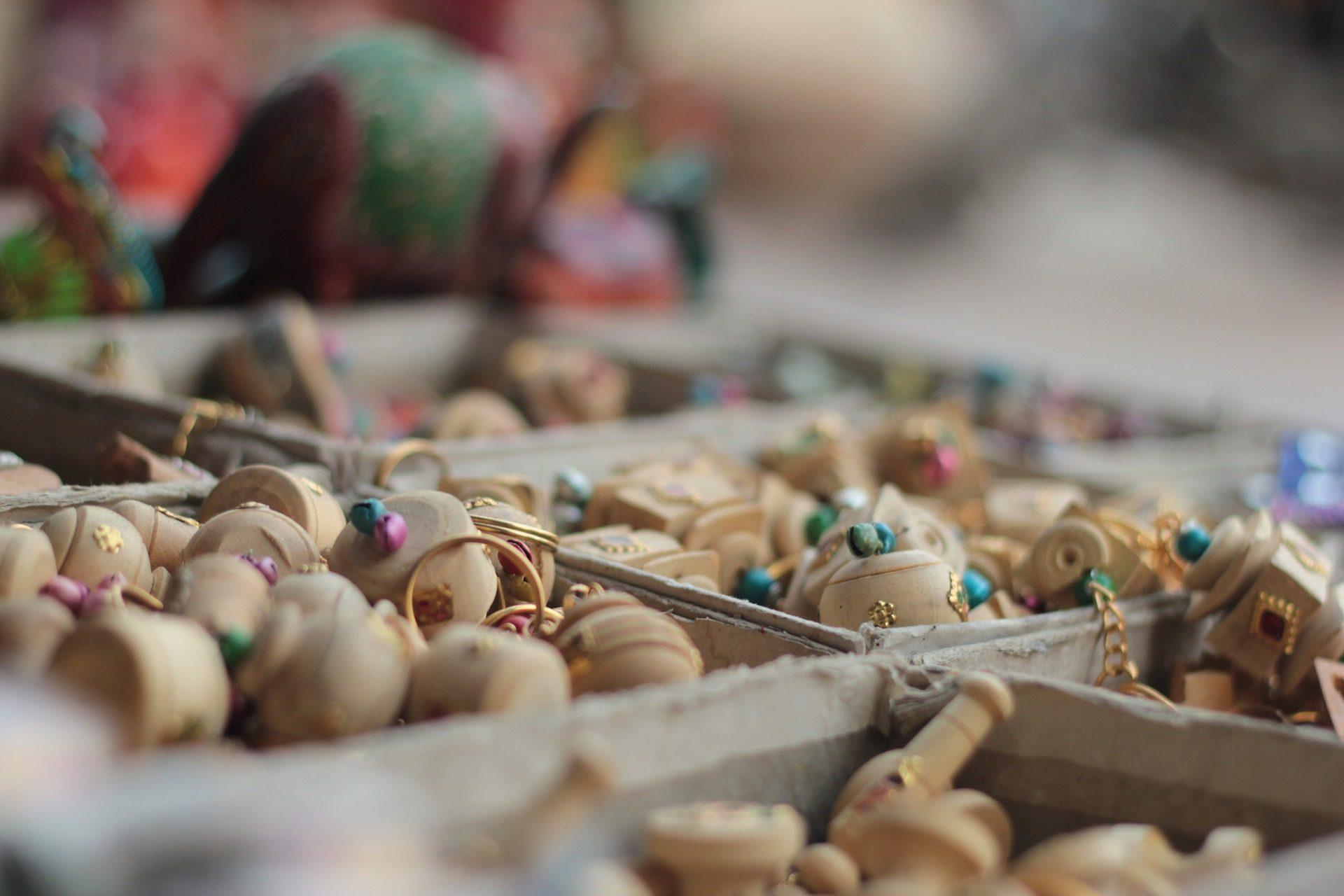الحلي, حبات, الخشب, سوق البرغوث, شارع, الهند - خلفيات عالية الدقة - أستاذ falken.com
