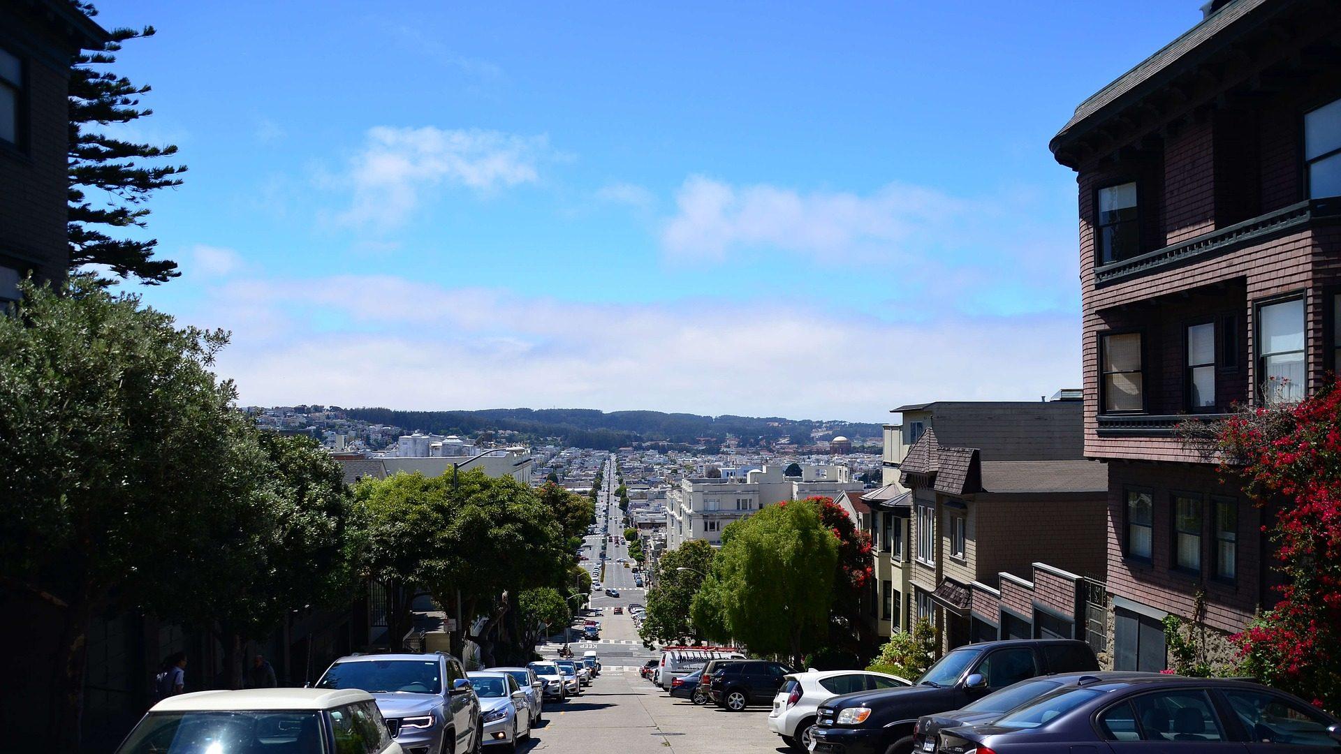 Улица, жилой, Город, Автомобили, наклон, Ломбард, Сан-Франциско - Обои HD - Профессор falken.com