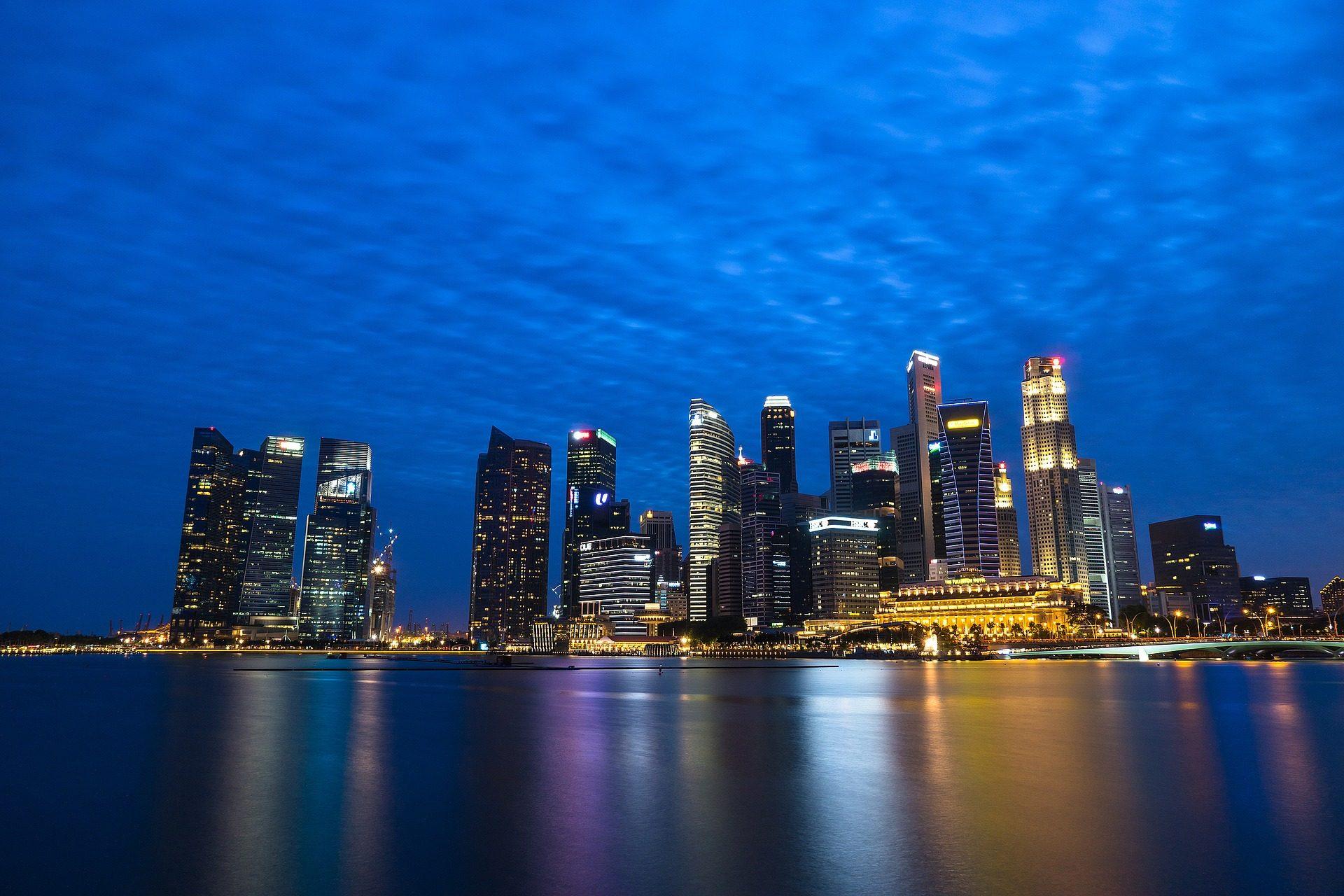 مدينة, المباني, ناطحة سحاب, أفق, ليلة, أضواء, سنغافورة - خلفيات عالية الدقة - أستاذ falken.com