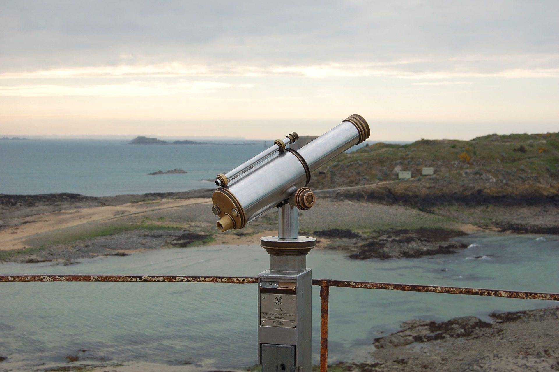 Costa, Mar, Praia, ponto de vista, telescópio, óculos, horizonte - Papéis de parede HD - Professor-falken.com