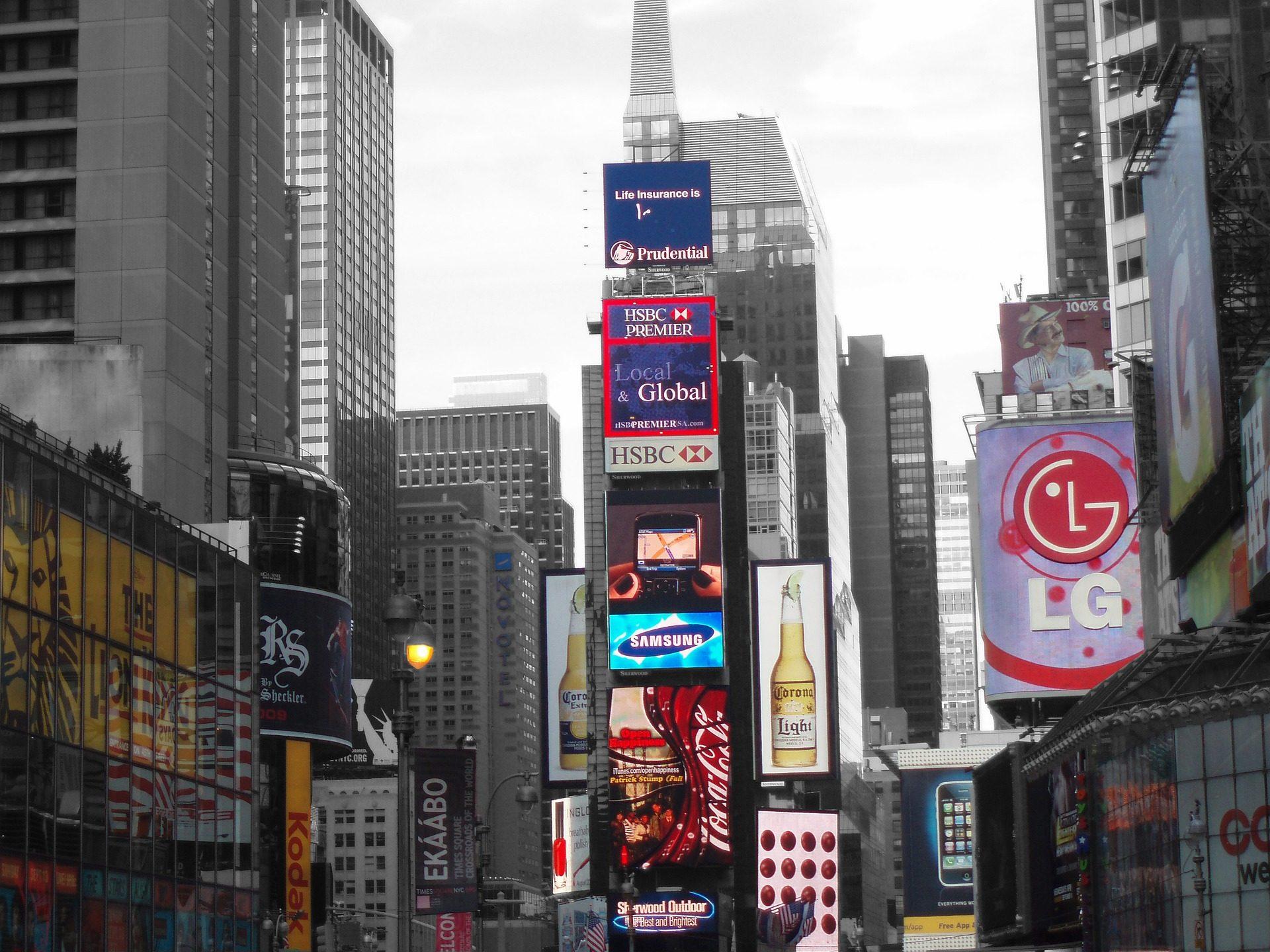 المباني, ناطحة سحاب, إعلان, الإعلان, مدينة - خلفيات عالية الدقة - أستاذ falken.com